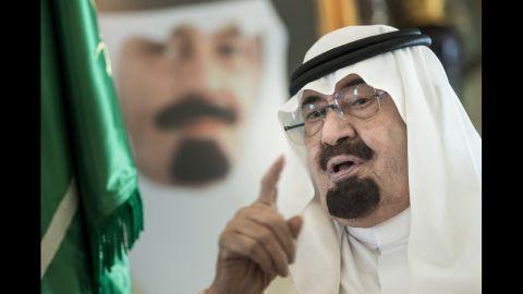 Saudi Arabia's King Abdullah bin Abdulaziz al Saud speaks at his private residence in Jeddah, Saudi Arabia, in June. The King has died, according to an announcement on Saudi state TV. He was 90.