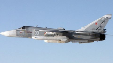A Su-24 attack aircraft, nicknamed the Fencer by NATO, was photographed by a Norwegian warplane.