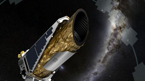 A rendering of the Kepler spacecraft, which is looking for other worlds.