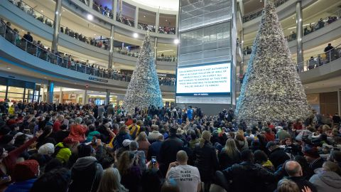 Thousands of protesters fill the Mall of America in Bloomington on Saturday, December 20.