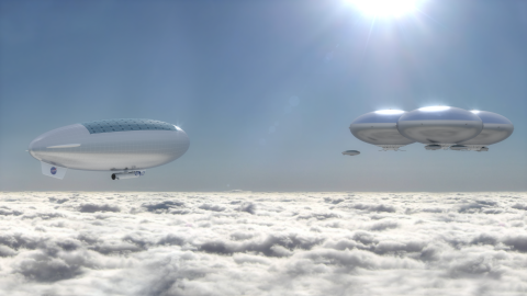 This artist's impression shows what NASA's HAVOC plan for a human colony on Venus would look like over the clouds of the planet.