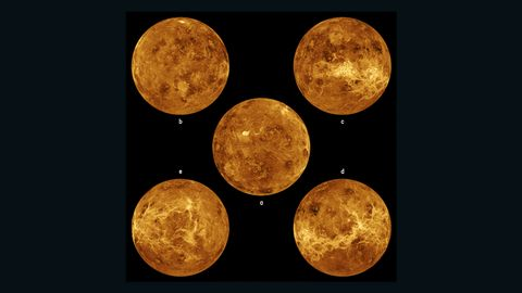 Surface views of Venus. The center image is centered at the north pole. The other four are centered around the equator.