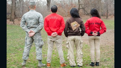 There are many ways to serve your country. From left to right: Capt. Dia Beshara serves at USAF; Ferney Giraldo is a returned volunteer from the Peace Corps; Adalisa Ramirez is a graduate of Green City Force AmeriCorps; Tahia Islam is a member of City Year AmeriCorps.