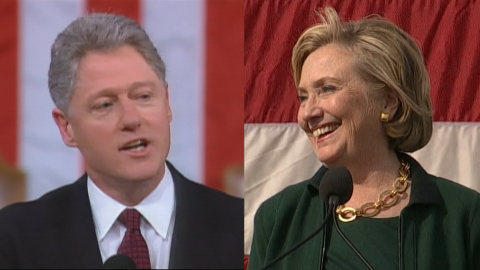 Bill Clinton in 1996 and Hillary Clinton in 2014