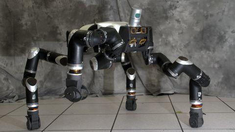 The RoboSimian disaster-response robot has four limbs, seven cameras and a LiDAR system.