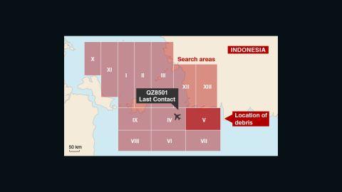 Search zone where debris was found