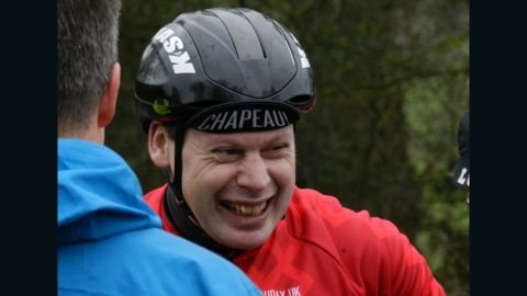 Abraham can afford a smile on the first day of his attempt to ride the equivalent of three times around the world in 365 days.