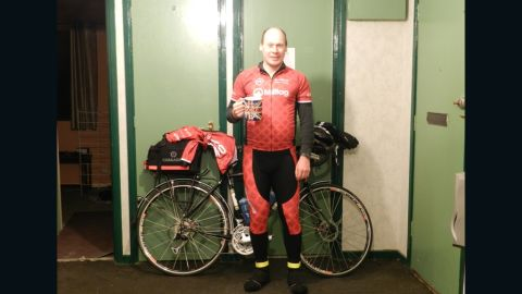 A last cup of tea for Abraham before he sets off into the night on New Year's Day at the start of his attempt at fellow Englishman Tommy Godwin's record.