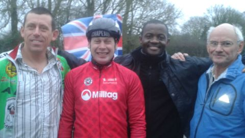 Abraham is flanked by Hopkinson (left) and to his right Idai Makaya and Roger Cortis from his support team.