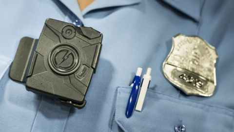:A body camera from Taser is seen during a press conference at City Hall September 24, 2014 in Washington, DC. The Washington, DC Metropolitan Police Department is embarking on a six- month pilot program where 250 body cameras will be used by officers. AFP PHOTO/Brendan SMIALOWSKI (Photo credit should read BRENDAN SMIALOWSKI/AFP/Getty Images)