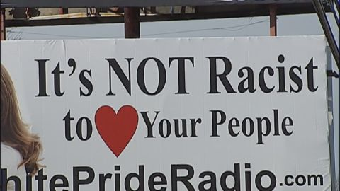 """Uproar broke out when White Pride Radio put up a billboard reading, """"It's NOT racist to love your people"""" in Harrison, Arkansas. Thomas Robb, the national director of Knights of the KKK, said there was no racist intent with the billboard. """"If anybody sees racism in that billboard, then they themselves are racist,"""" <a href=""""http://www.cnn.com/videos/tv/2015/01/07/cnn-tonight-thomas-robb-kkk-billboard.cnn"""">Robb told CNN</a> in January."""
