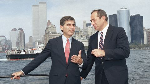 Democratic presidential candidate Michael Dukakis, left, and Cuomo talk on the ferry back to Manhattan on September 4, 1988, after attending ceremonies on Ellis Island, paying tribute to the 17 million immigrants who passed through there.