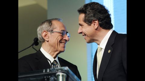 Cuomo introduces his son and governor of New York, Andrew Cuomo, at the AOL Huffington Post Game Changers Awards on October 18, 2011, in New York.