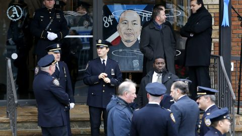 A painting of Liu is displayed prior to the funeral.