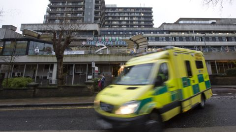 An ambulance pulls away from London's Royal Free Hospital where Scottish nurse Pauline Cafferkey is in serious but stable condition.