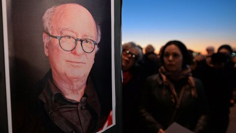 A portrait of French cartoonist Georges Wolinski, another victim of the shooting, is seen in Marseille, France, on January 7.