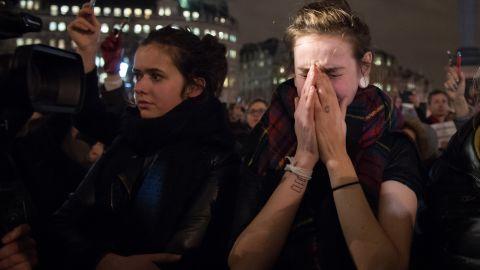 People gather in London's Trafalgar Square on January 7.