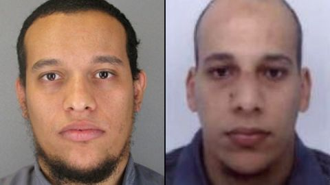 """French authorities released photographs of <a href=""""http://www.cnn.com/2015/01/08/europe/paris-charlie-hebdo-shooting-suspects/index.html"""" target=""""_blank"""">main suspects</a> Said Kouachi, left, and Cherif Kouachi, warning that both could be armed and dangerous. A third suspect, Hamyd Mourad, has surrendered to police, according to the news agency Agence France-Presse."""
