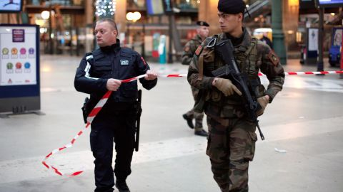 French soldiers patrol the Gare du Nord railway station in Paris on January 8.