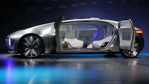 """The <a href=""""https://www.mercedes-benz.com/en/mercedes-benz/innovation/research-vehicle-f-015-luxury-in-motion/"""" target=""""_blank"""" target=""""_blank"""">F 015 Luxury in Motion</a> concept car by Mercedes-Benz, which features an automated driving option, luxury """"mobile living space"""" interior and communicates with its surroundings using both audio and lights."""
