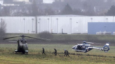Police and military forces take positions in Dammartin-en-Goele.