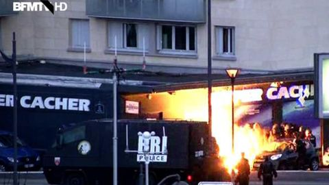 Police free hostages during a raid in a French grocery store