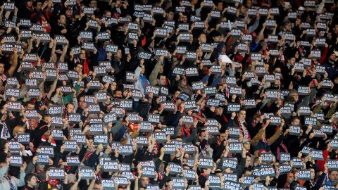 """Football, however, is one area of French life where the national principles are still very much alive. Here supporters hold signs reading """"Je suis Charlie"""" (I am Charlie) during the French Ligue 1 match between Guingamp and Lens at the Roudourou stadium in January."""