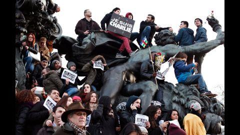 People gather at Place de la Nation in Paris.