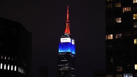 The Empire State Building in New York is lit in the colors of the French flag on January 11, paying tribute to those who lost their lives in the Charlie Hebdo terrorist attack.