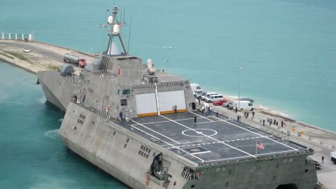 """The littoral combat ship USS Independence (LCS-2) is pictured at Naval Air Station Key West, Florida, in 2010. The ship was specifically designed to defeat """"anti-access"""" threats in shallow coastal water regions, including surface craft, diesel submarines and mines, according to the Navy."""
