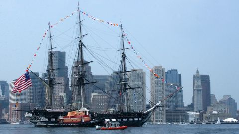The USS Constitution is shown in Boston Harbor in 2005. The tall-masted frigate in the oldest active warship in the world.