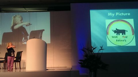Carter speaks at schools and business events to raise awareness of the rhinoceros' struggle in the face of poaching.