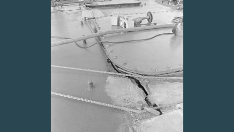 The Roberts crew had to use steel cables to keep the warship together after the mine attack.