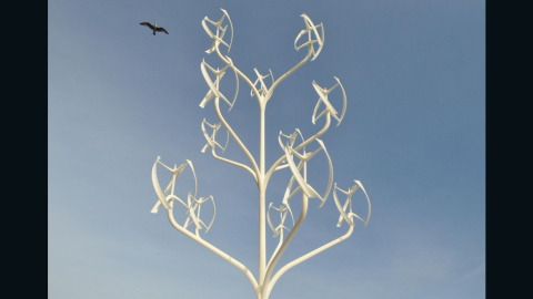 """But the French design isn't the first to combine wind power with a tree structure. Described as an """"urban windmill,"""" the """"Power Flower,"""" by NL ARchitects, has been designed to minimize space requirements. Having turbines on a vertical axis allows for a much denser construction than with conventional wind turbines."""