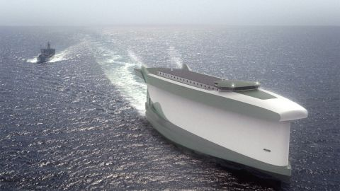 Lade AS's Vindskip concept is a hybrid merchant vessel designed for sustainable sea transport, driven by the wind and liquefied natural gas.
