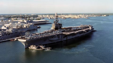 """The USS Ranger (CV-61) arrives at Pearl Harbor, Hawaii, in 1993. The Forrestal-class carrier, which featured in the movie """"Top Gun,"""" is to be scrapped this year."""