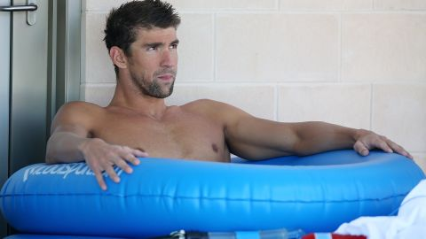 GOLD COAST, AUSTRALIA - AUGUST 20: Michael Phelps sits in an ice bath after swimming at the Team USA squad training at the Gold Coast Aquatics Centre on August 20, 2014 in Gold Coast, Australia. (Photo by Chris Hyde/Getty Images)