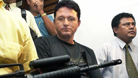 Brazilian cocaine smuggler Marco Archer Cardoso Moreira pictured at a press conference in Jakarta after his arrest in August 2003.