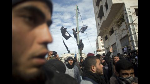 """Palestinian Salafists protest against the caricatures of the Prophet Muhammad published in the satirical French weekly magazine """"Charlie Hebdo,"""" outside the French Cultural Center in Gaza City, on Monday, January 19."""