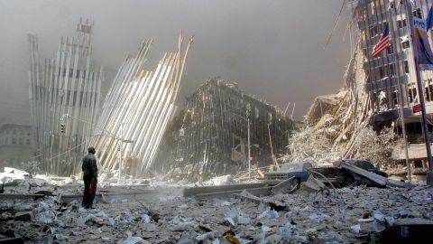 A man stands near the rubble, asking if anyone needs help, after the collapse of one of the World Trade Center towers on September 11, 2011. In what was the worst terrorist attack in U.S. history, 2,753 people were killed when two hijacked planes were intentionally crashed in the north and south towers of the New York buildings. Two other planes were also hijacked: One crashed into the Pentagon in Washington, and one crashed at a field near Shanksville, Pennsylvania.