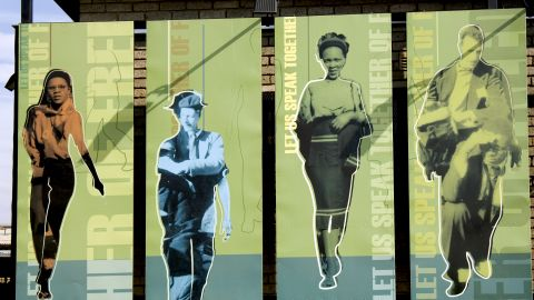 """Artwork at Freedom Square, the site of the adoption of the Freedom Charter in 1955 in Kliptown, Soweto. The Freedom Charter proclaims that ''South Africa belongs to all who live in it"""" and was a major part of the anti-apartheid movement."""
