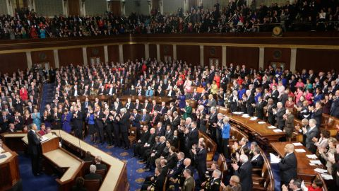"""Obama began his speech at 9:10 p.m. in front of a joint session of the House and Senate, declaring that """"the shadow of crisis has passed, and the state of the union is strong."""""""