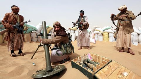 Tribal soldiers protecting the city from Houthi rebels stand guard at the city borders in Marib, Yemen, on January 19.