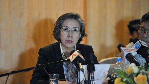 U.N. Special Rapporteur on Myanmar Yanghee Lee at a press conference in Yangon.