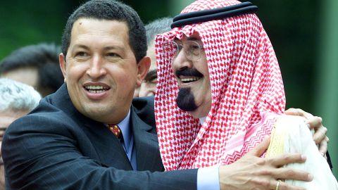 Venezuelan President Hugo Chavez hugs Prince Abdullah during a summit in Caracas, Venezuela, in September 2000.