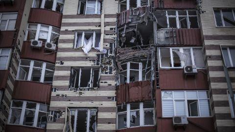 A building hit by Ukrainian artillery is seen in the Voroshilovsky area of Donetsk on January 18.