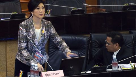 Yingluck Shinawatra addresses the National Legislative Assembly in parliament in Bangkok on January 22.