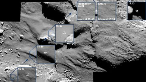 Rosetta's lander, Philae, wasn't able to get a good grip on the comet after it touched down. This mosaic shows Philae's movements as it bounced across the comet.