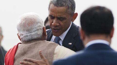 Modi hugs Obama after Obama's arrival in New Delhi.