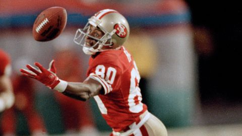 <strong>Most receiving yards in a Super Bowl:</strong> San Francisco wide receiver Jerry Rice was named Super Bowl MVP in 1989 after he caught 11 balls for a record 215 yards against Cincinnati. The Hall of Famer also holds Super Bowl records for most points and most touchdowns in a career. He scored eight touchdowns over four Super Bowls.